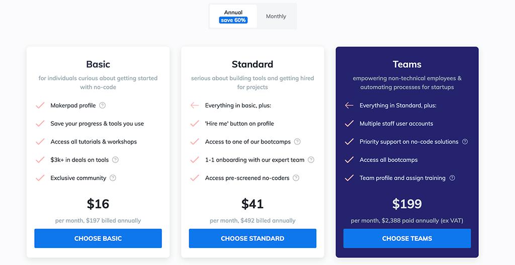 Makerpad Pricing
